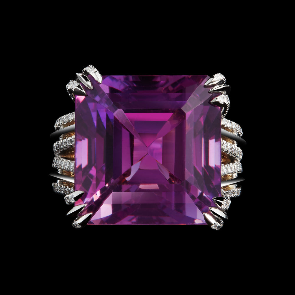 Load image into Gallery viewer, Asscher-Cut Amethyst & Diamond Ring