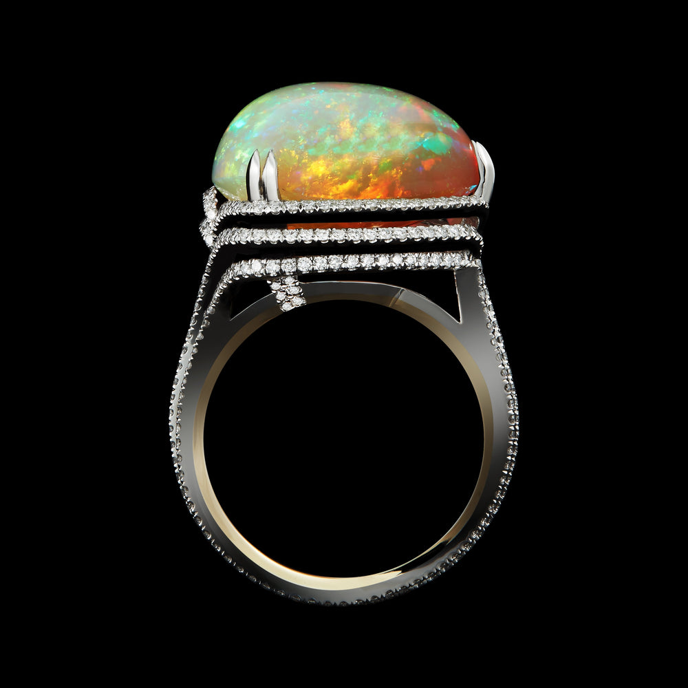 Opal Swirl Around Checkerboard- Harlequin Ring - Alexandra Mor online
