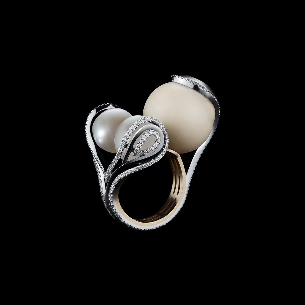 Wild Tagua, South Sea Artisanal Farm Pearls and Diamonds Sphere Ring