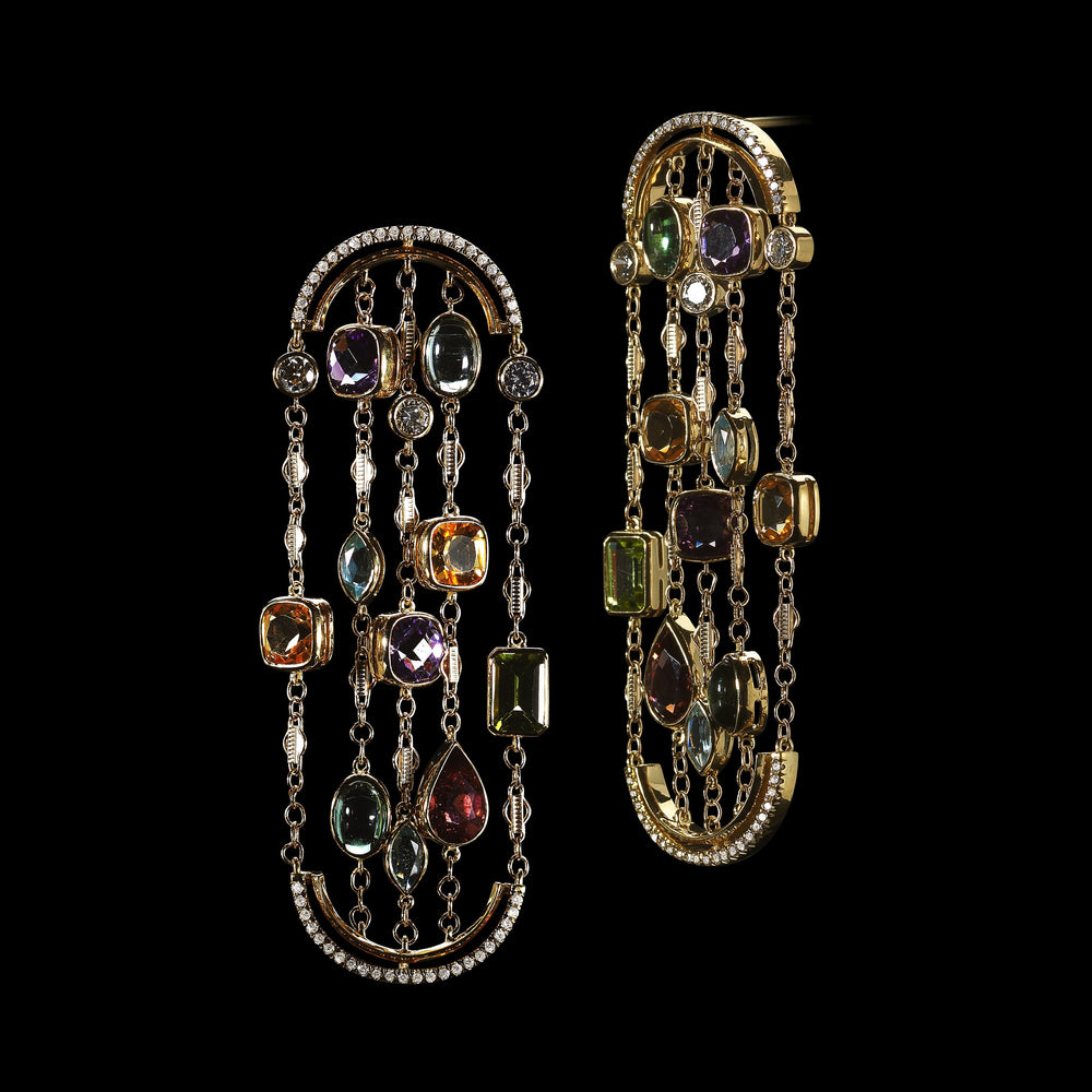 Load image into Gallery viewer, Arched Sautior Earrings with Diamonds, Precious Stones and Snowflakes - Alexandra Mor online