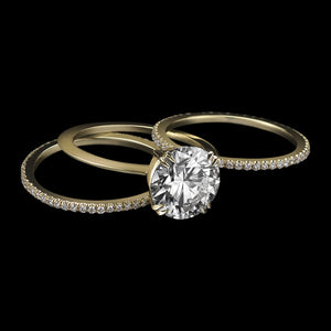 Load image into Gallery viewer, Brilliant-Cut Diamond & Yellow Gold Three Ring Sets