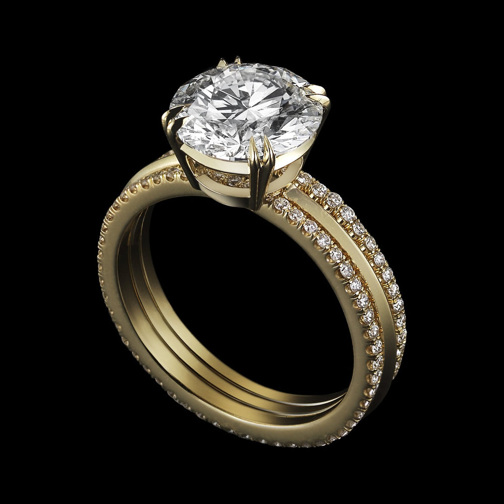 Brilliant-Cut Diamond & Yellow Gold Three Ring Sets - Alexandra Mor online