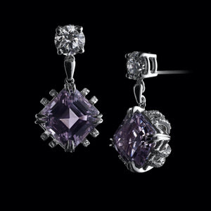 Asscher-Cut Kunzite and Diamond Earrings - Alexandra Mor online