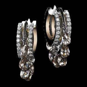 Champagne Diamond Briolette Hoop Earrings - Alexandra Mor online