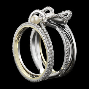 Load image into Gallery viewer, Platinum Contemporary Diamond Bow & Pearl Ring - Alexandra Mor online