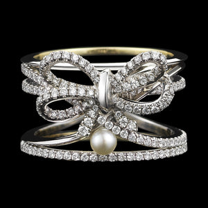Load image into Gallery viewer, Platinum Contemporary Diamond Bow & Pearl Ring