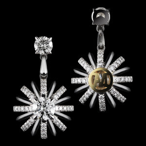 Load image into Gallery viewer, Platinum Signature Diamond Snowflake Dangling Earrings - Alexandra Mor online