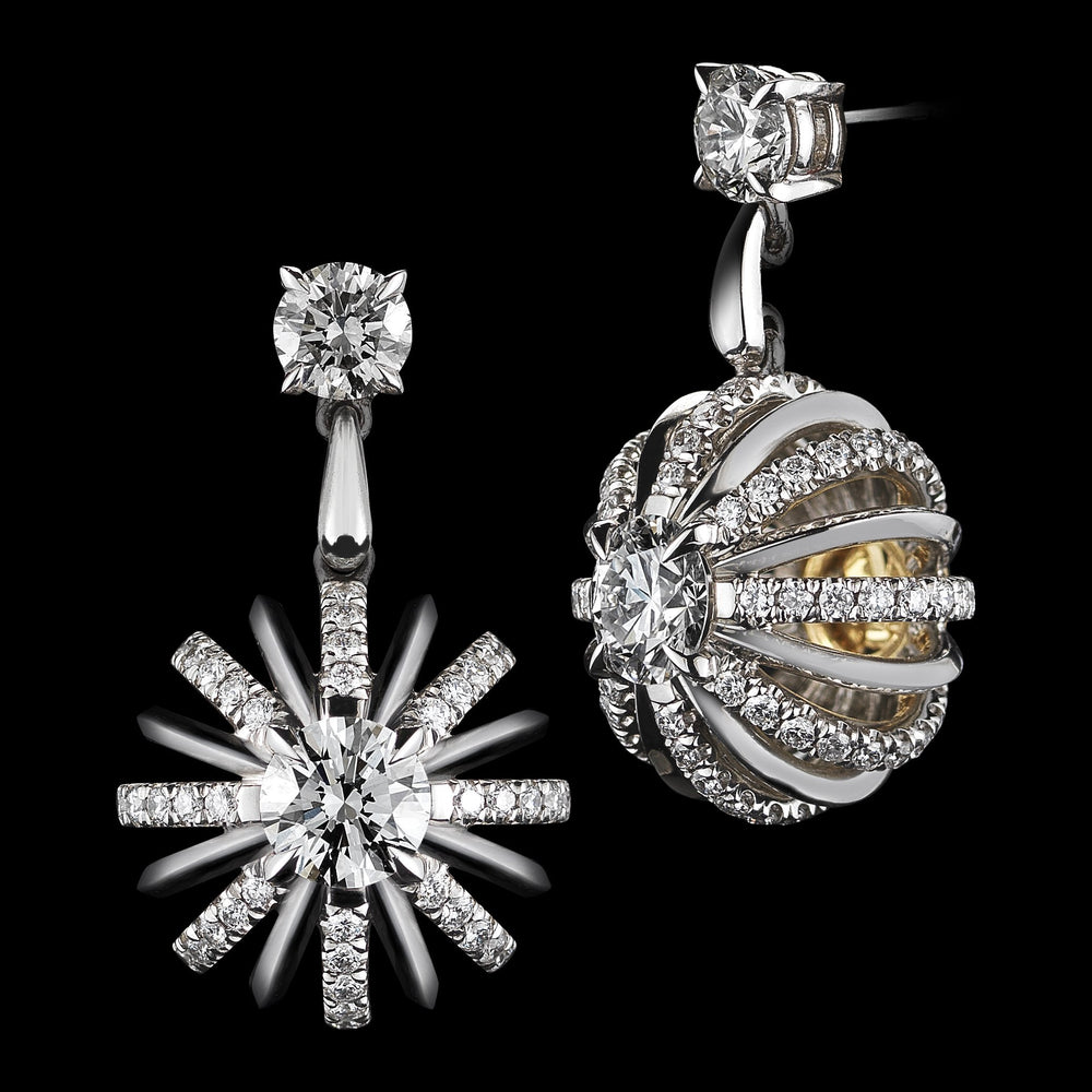 Platinum Signature Diamond Snowflake Dangling Earrings - Alexandra Mor online