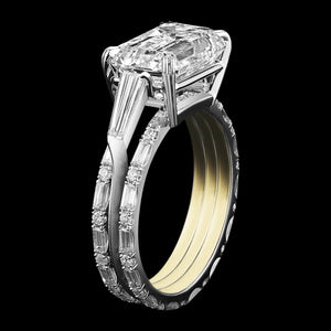 Three Ring Emerald Cut Diamond and Baguette Engagement Ring