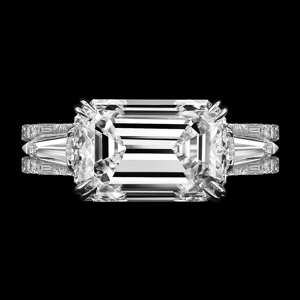 Load image into Gallery viewer, Three Ring Emerald Cut Diamond and Baguette Engagement Ring