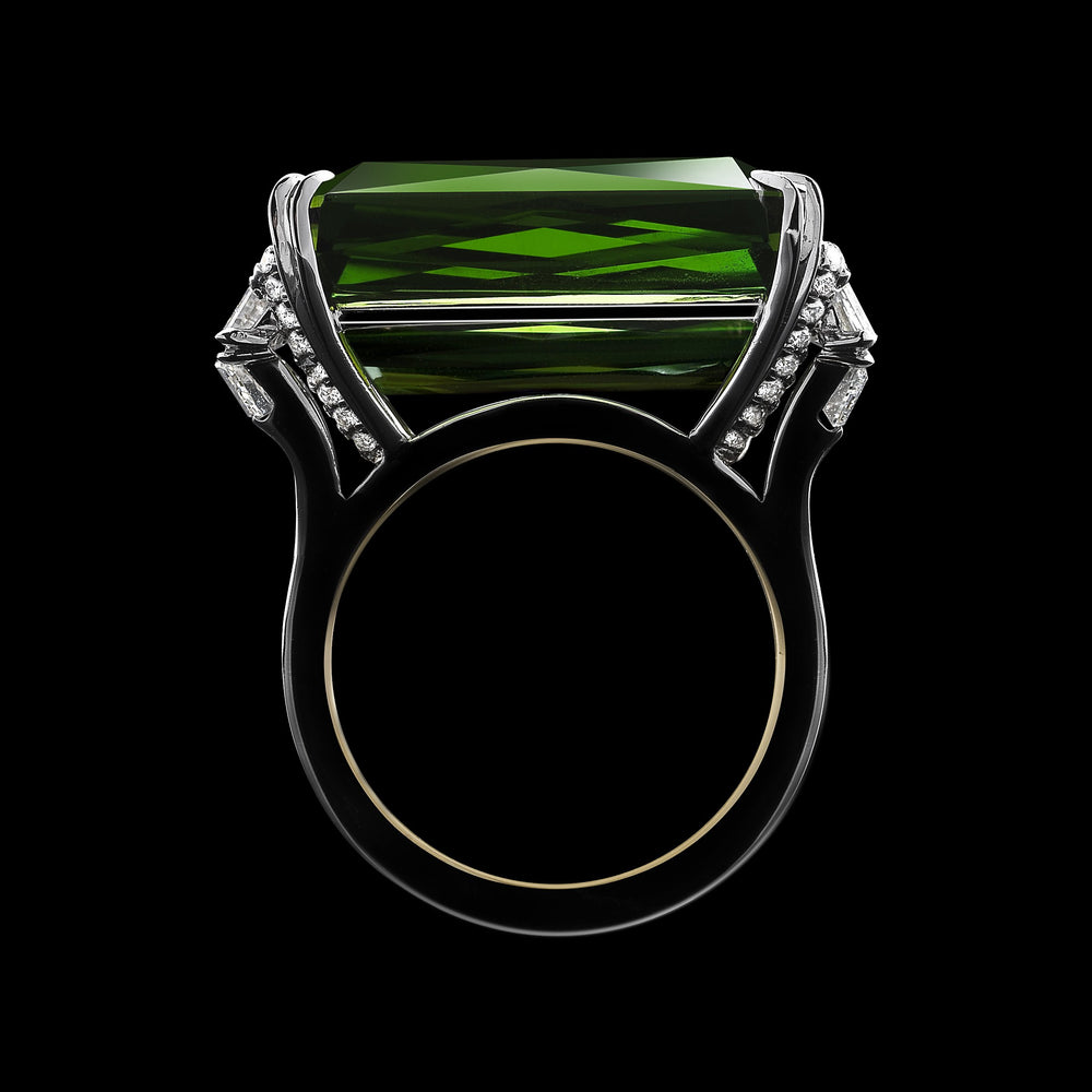 Load image into Gallery viewer, Emerald-Cut Green Tourmaline & Diamond Ring - Alexandra Mor online
