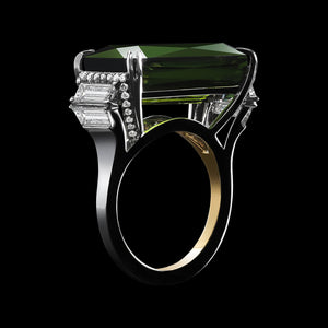 Emerald-Cut Green Tourmaline & Diamond Ring