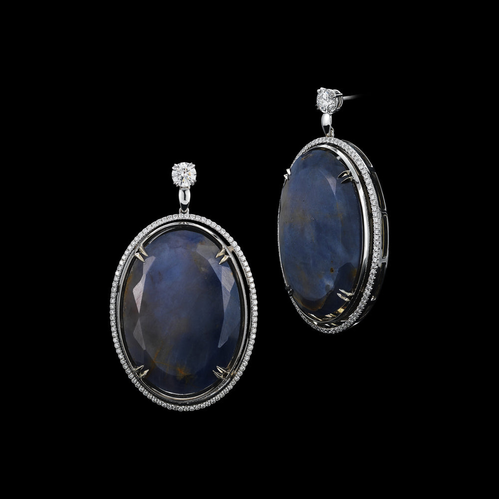 Oval Sapphire & Diamond Earrings - Alexandra Mor online