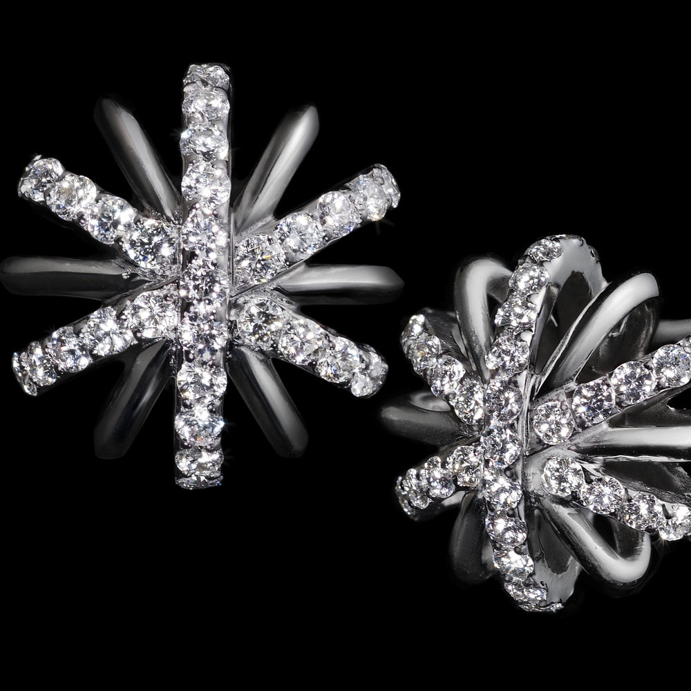 Large Platinum Diamond Snowflake Earrings - Alexandra Mor online