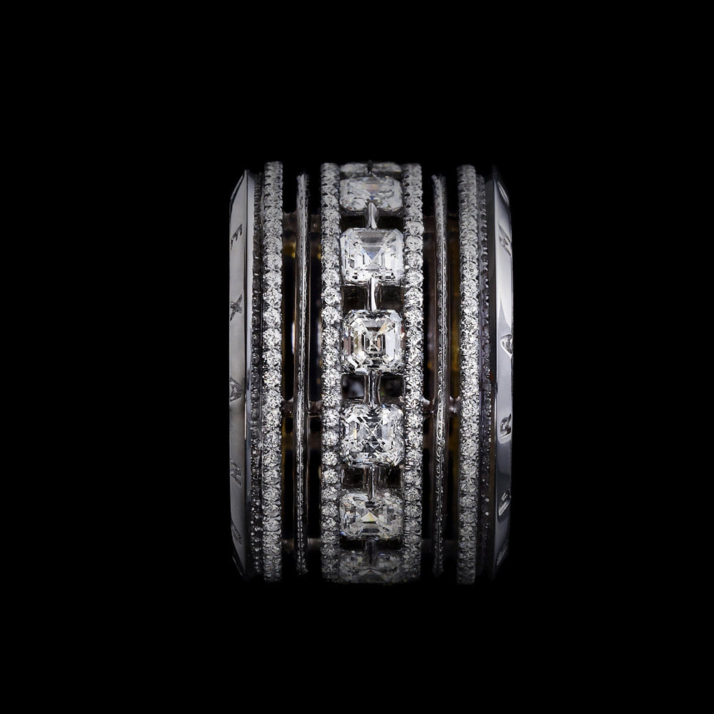 Platinum Signature Asscher-Cut Diamond Wide Eternity Band Ring - Alexandra Mor online