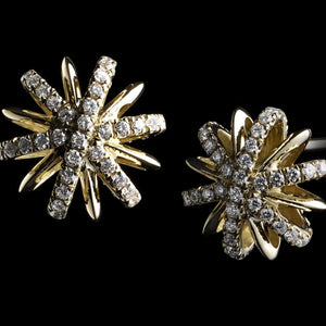 Medium Yellow Gold Diamond Snowflake Earrings