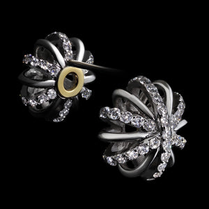 Load image into Gallery viewer, Large Platinum Diamond Snowflake Earrings