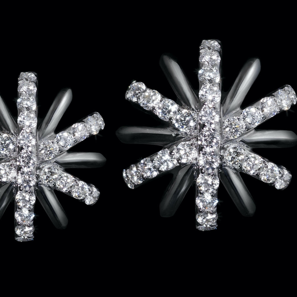 Small Platinum Diamond Snowflake Earrings - Alexandra Mor online