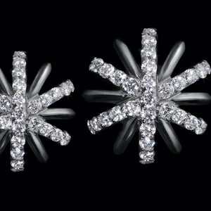 Load image into Gallery viewer, Small Platinum Diamond Snowflake Earrings - Alexandra Mor online