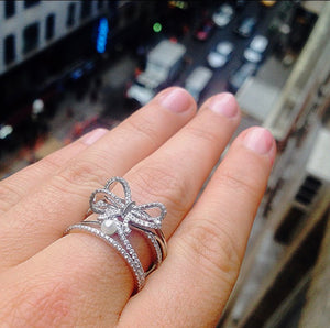 Platinum Contemporary Diamond Bow & Pearl Ring - Alexandra Mor online