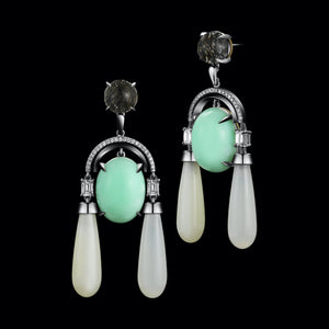 Diamond Arch Earrings with Green Opal Cabochon, Moonstone Drops, & Black Rutilated Quartz - Alexandra Mor online