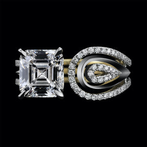 Load image into Gallery viewer, Feather Shaped Asscher cut Diamond Ring