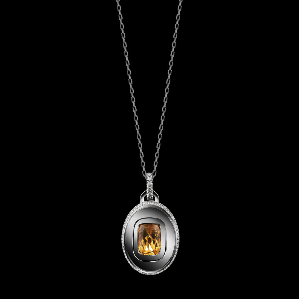 Load image into Gallery viewer, Cushion-Cut Citrine and Diamond November Birthstone Pendant - Alexandra Mor online