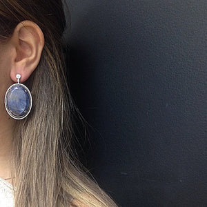 Load image into Gallery viewer, Oval Sapphire & Diamond Earrings - Alexandra Mor online