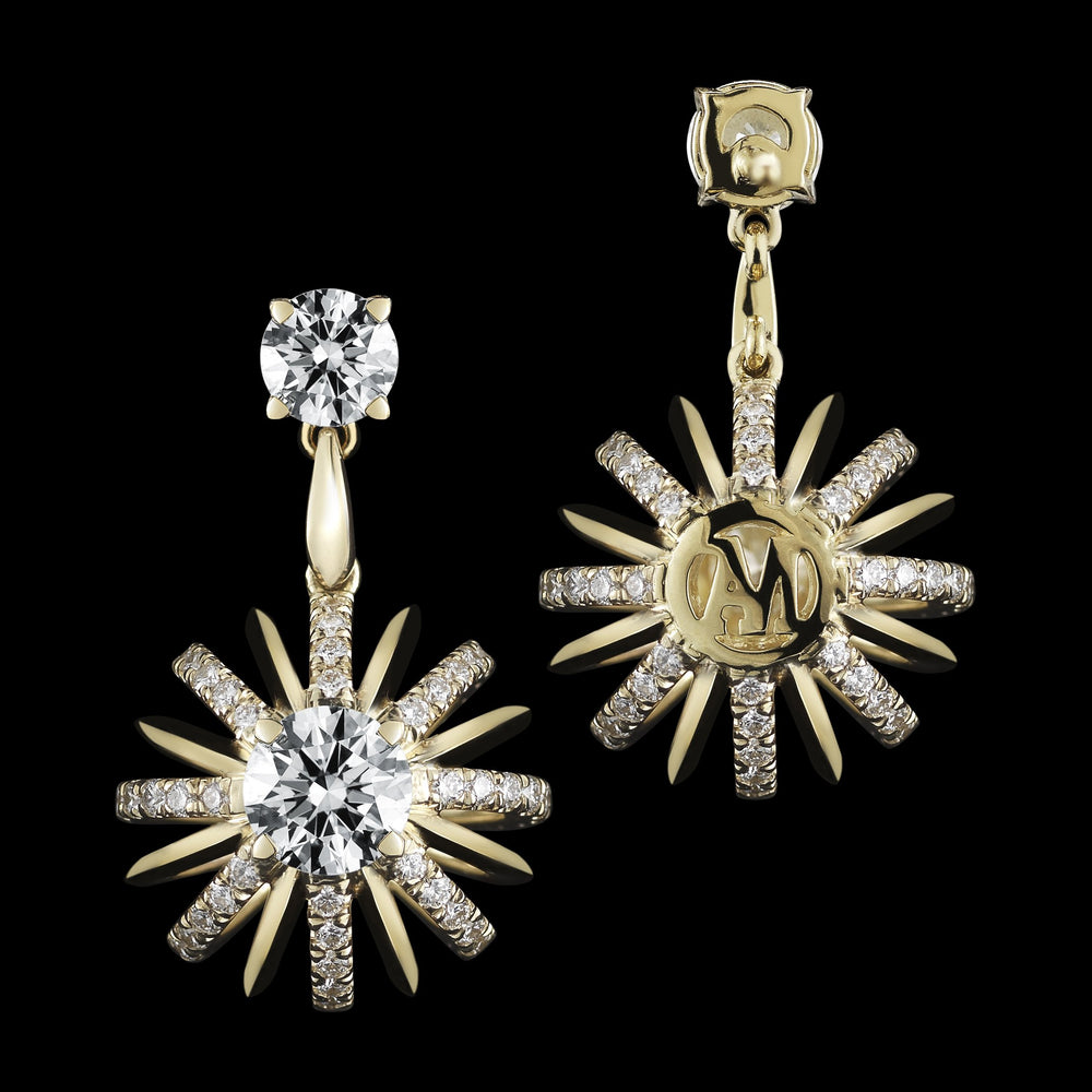 Load image into Gallery viewer, Yellow Gold Signature Diamond Snowflake Dangling Earrings