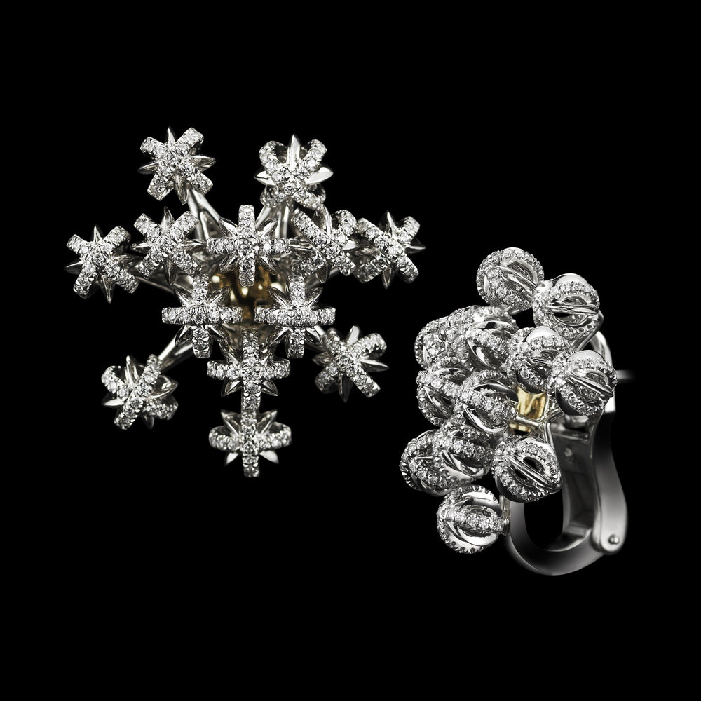 Signature Snowflake Dome Cluster Earrings - Alexandra Mor online