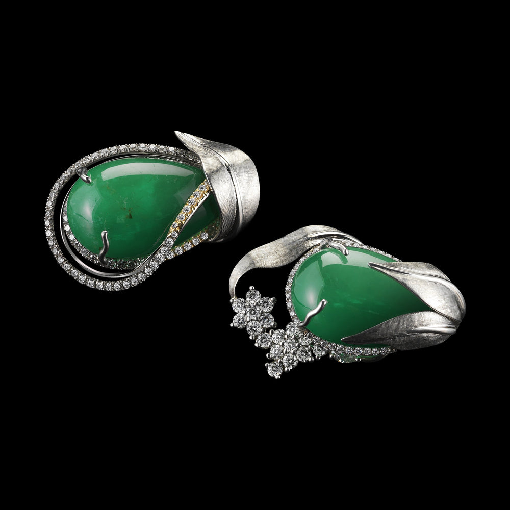 Asymmetrical Emerald & Diamond Cuff Earrings - Alexandra Mor online