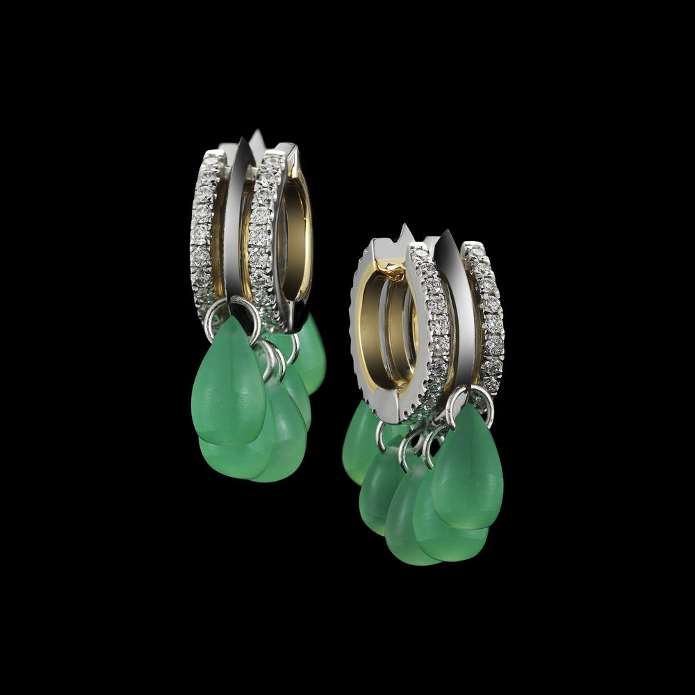 Green Chrysoprase & Diamond Hoop Earrings - Alexandra Mor online