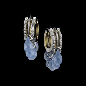 Load image into Gallery viewer, Lilac Chalcedony & Diamond Hoop Earrings