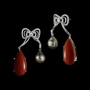 Diamond Medi Bow Stud Earrings with Pear Shape Coral & Grey Baroque Pearls - Alexandra Mor online