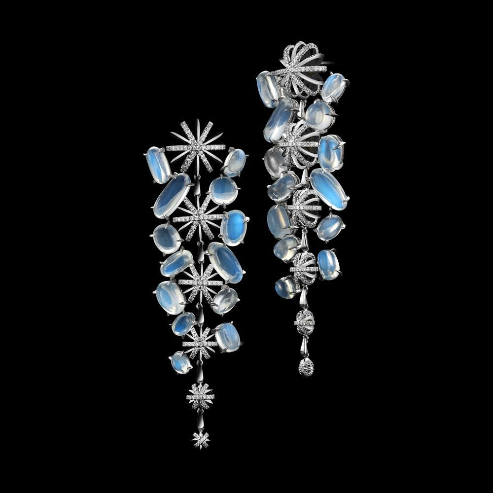 Diamond & Moonstone Long Snowflake Earrings - Alexandra Mor online