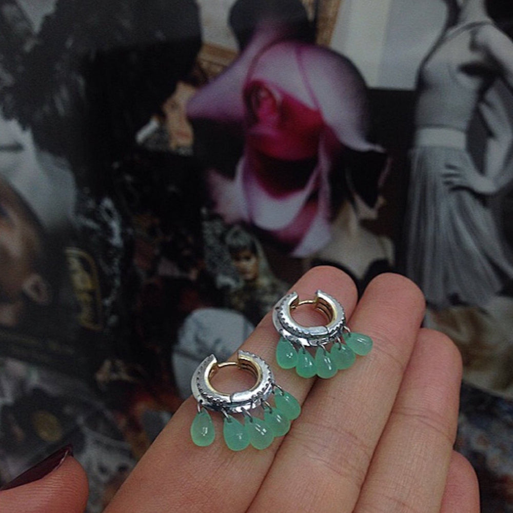 Load image into Gallery viewer, Green Chrysoprase & Diamond Hoop Earrings