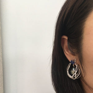 Sapphire & Pearl Curved Earrings - Alexandra Mor online
