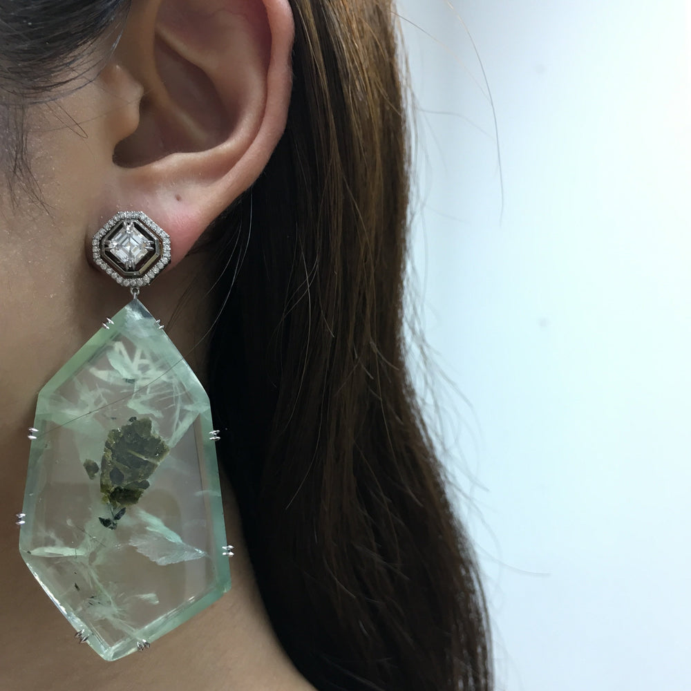 Asscher-Cut Diamond and Prehnite Precious Stone Earrings - Alexandra Mor online