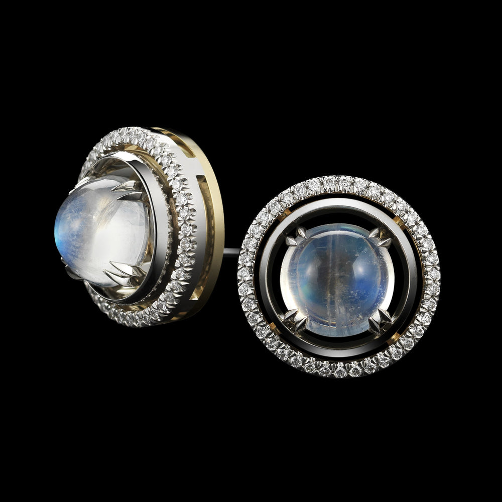 Load image into Gallery viewer, Medium Moonstone Studs with Diamond Earrings Jackets - Alexandra Mor online