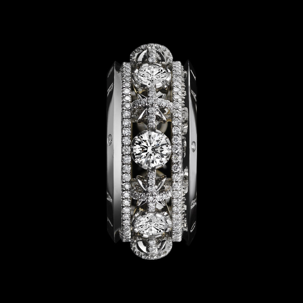 Narrow Snowflake & Brilliant Cut Diamond Eternity Band - Alexandra Mor online