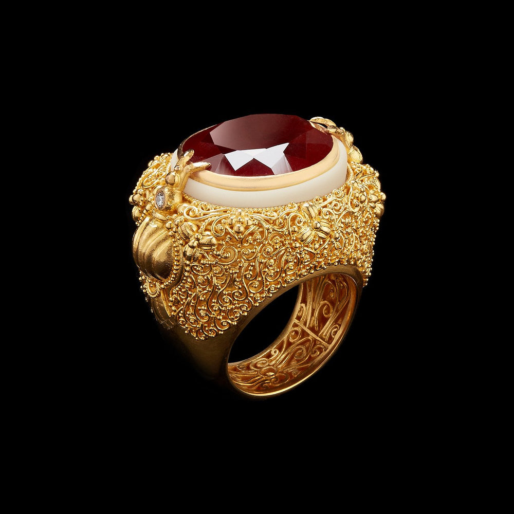 Oval-Cut Red Garnet & Gold Filigree Tagua Seed Ring