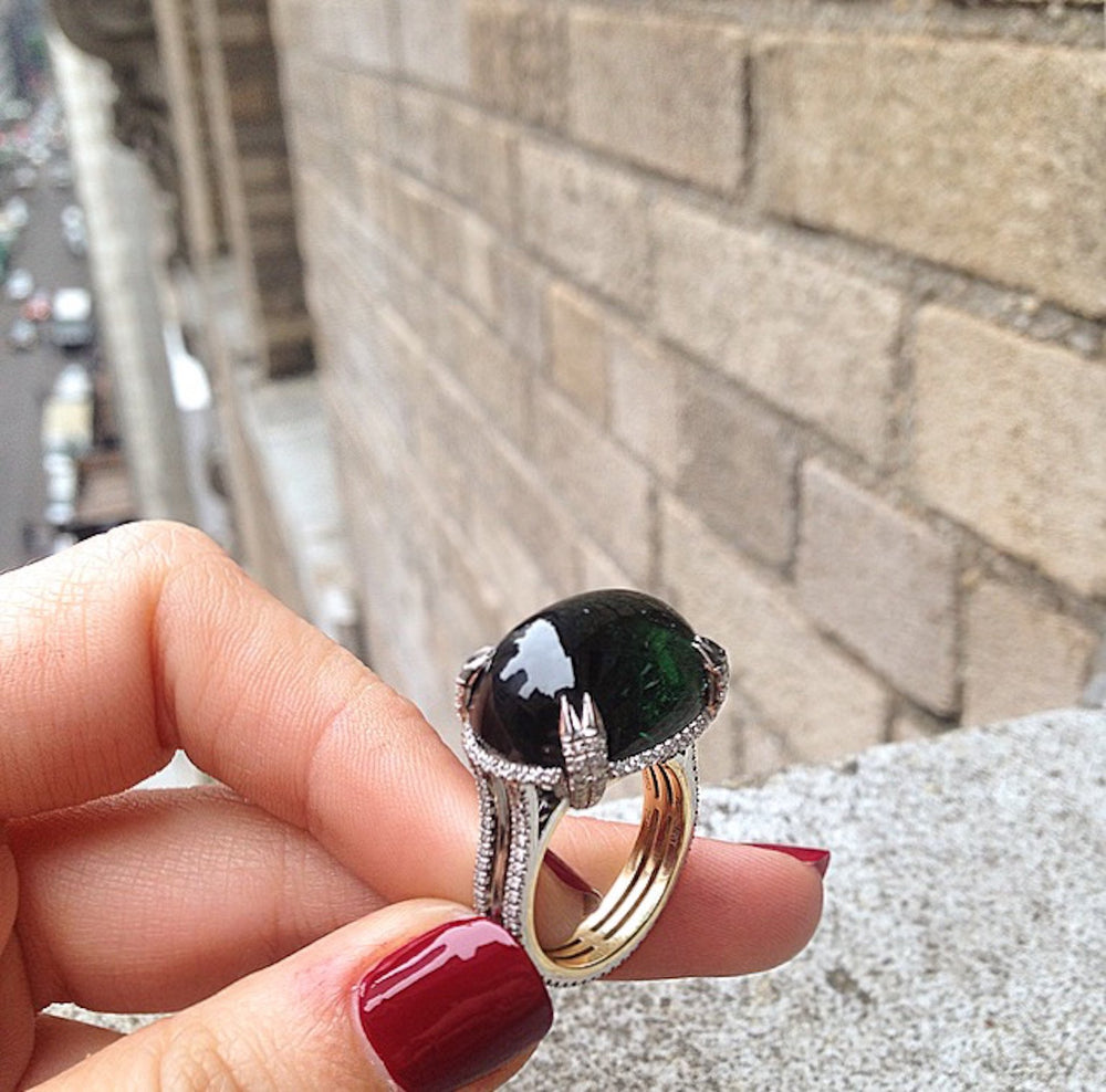 Load image into Gallery viewer, Green Tourmaline Oval Cabochon & Diamond Ring