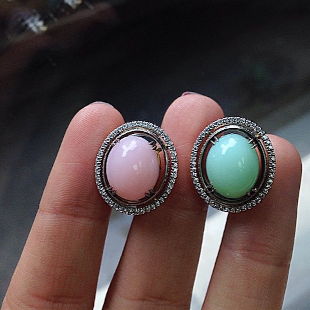 Green & Pink Oval Opal Cabochon with Diamond Jackets