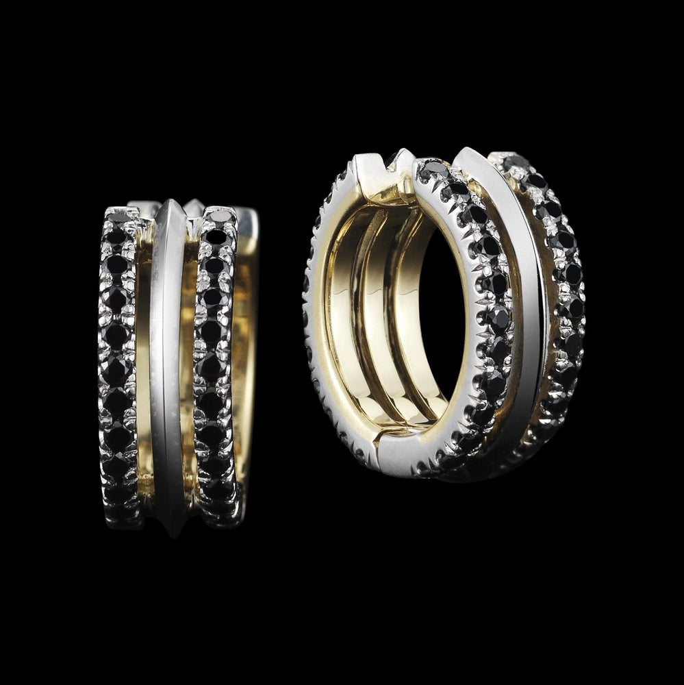 Load image into Gallery viewer, Petite Black Diamond Hoop Earring - Alexandra Mor online