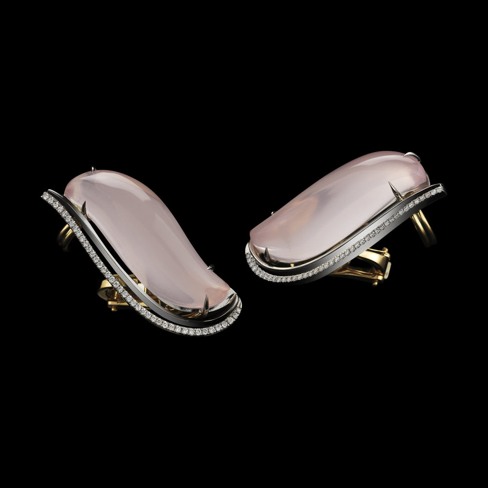 Pink Quartz & Diamond Earrings - Alexandra Mor online