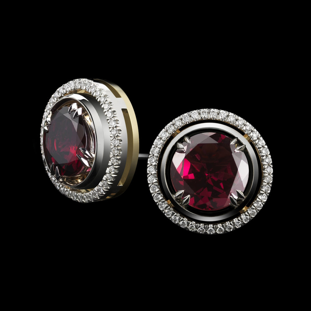 Medium Red-Rhodolite Studs with Diamond Earring Jackets - Alexandra Mor online
