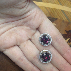 Medium Red-Rhodolite Studs with Diamond Earring Jackets