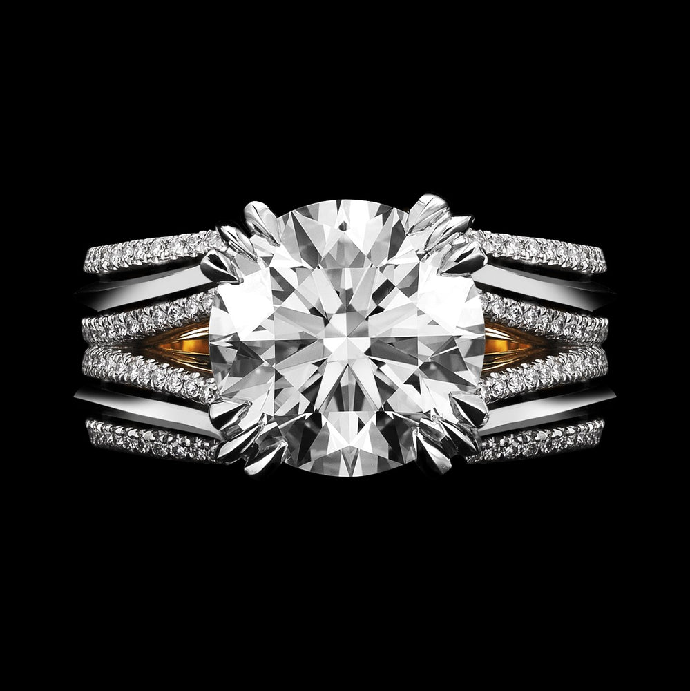 Double-Shank Floating Radiant- Cut Diamond Ring