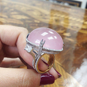 Load image into Gallery viewer, Rose-Quartz Cabochon & Diamond Slanted Ring