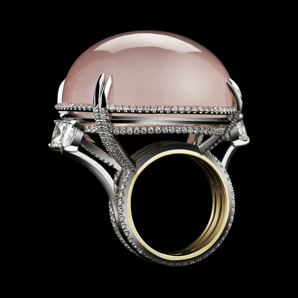 Rose-Quartz Cabochon & Diamond Slanted Ring - Alexandra Mor online